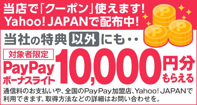 当店でクーポン使えます!Yahoo!JAPANで配布中!当社の特典以外にもPayPayボーナスライト10,000円分もらえます。